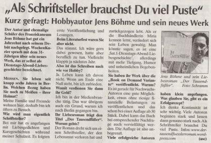 Interview WochenKurier - Der Tausendfüßler - Jens Böhme
