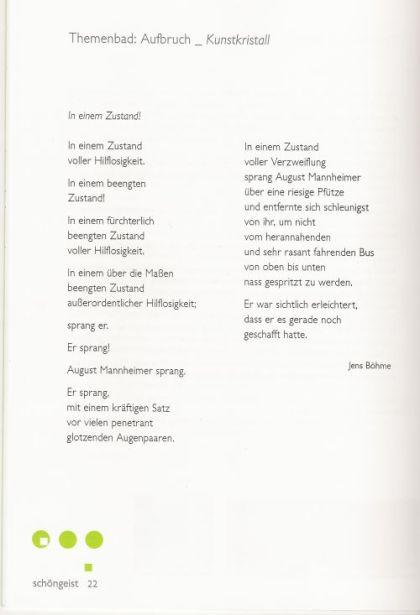Gedicht - In einem Zustand - Schöngeist - Jens Böhme