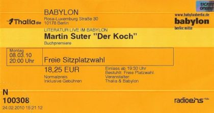Ticket - Literatur Live im Babylon