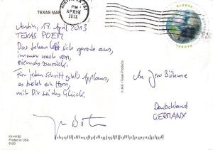 Rückseite Postkarte aus Texas Austin USA mit Gedicht TEXAS POEM