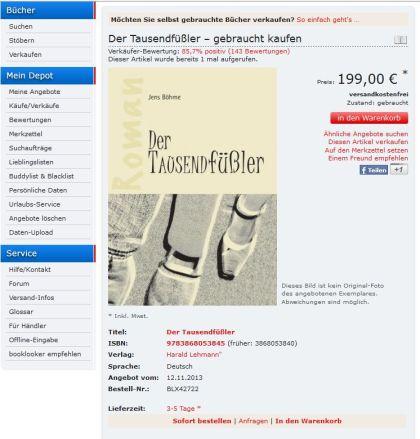 verkehrt ausgewiesenes Coverbild vom Roman Der Tausendfüßler beim Buchhändler Booklooker