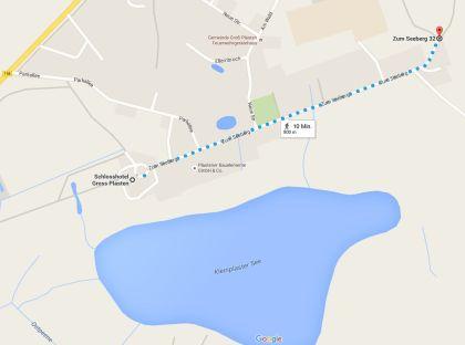 Google Wegbeschreibung zur Infotafel Tinko-Eiche Groß Plasten